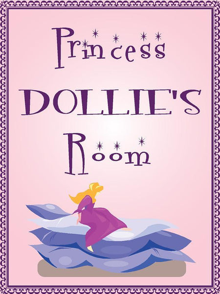 "Princess DOLLIE room pink design 9""x12"" aluminum novelty girls room décor sign"