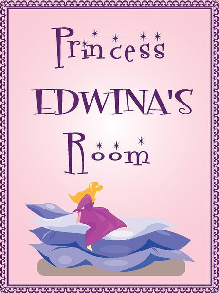 "Princess EDWINA room pink design 9""x12"" aluminum novelty girls room décor sign"