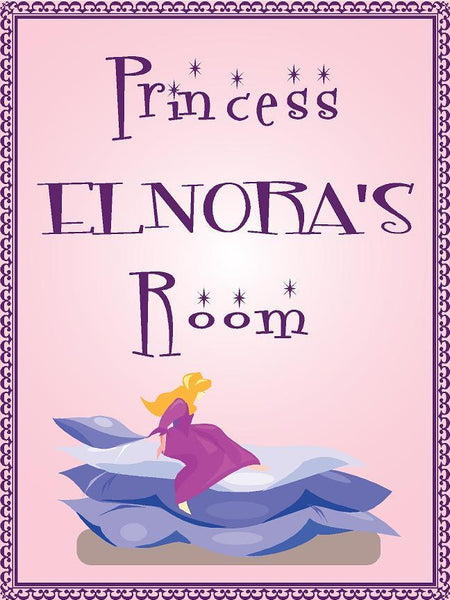 "Princess ELNORA room pink design 9""x12"" aluminum novelty girls room décor sign"