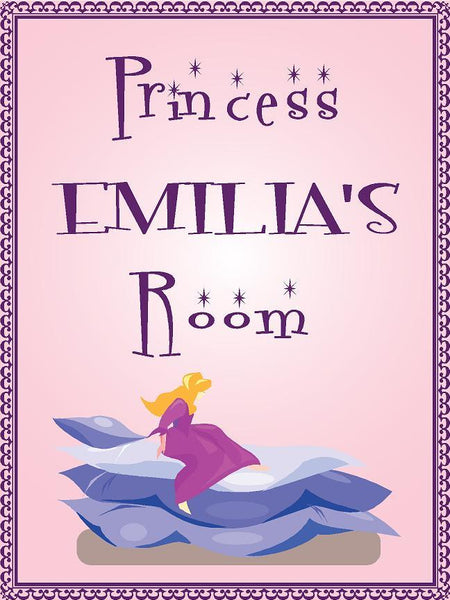 "Princess EMILIA room pink design 9""x12"" aluminum novelty girls room décor sign"