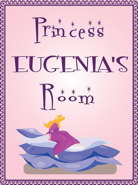 "Princess EUGENIA room pink design 9""x12"" aluminum novelty girls room décor sign"
