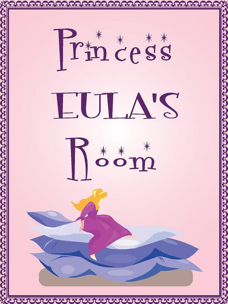 "Princess EULA room pink design 9""x12"" aluminum novelty girls room décor sign"