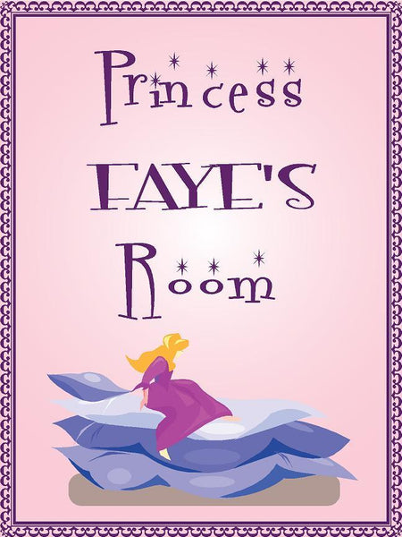 "Princess FAYE room pink design 9""x12"" aluminum novelty girls room décor sign"