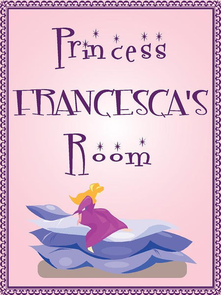 "Princess FRANCESCA room pink design 9""x12"" aluminum novelty girls room décor sign"