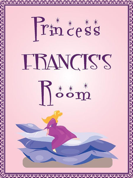 "Princess FRANCIS room pink design 9""x12"" aluminum novelty girls room décor sign"