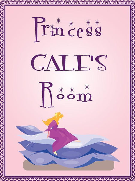 "Princess GALE room pink design 9""x12"" aluminum novelty girls room décor sign"
