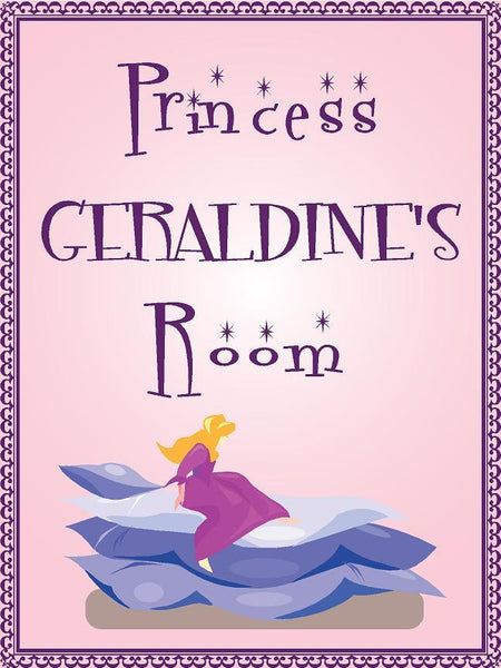 "Princess GERALDINE room pink design 9""x12"" aluminum novelty girls room décor sign"