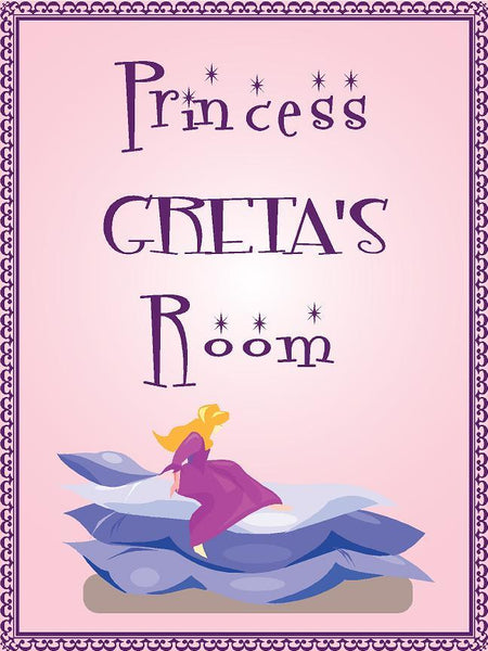 "Princess GRETA room pink design 9""x12"" aluminum novelty girls room décor sign"