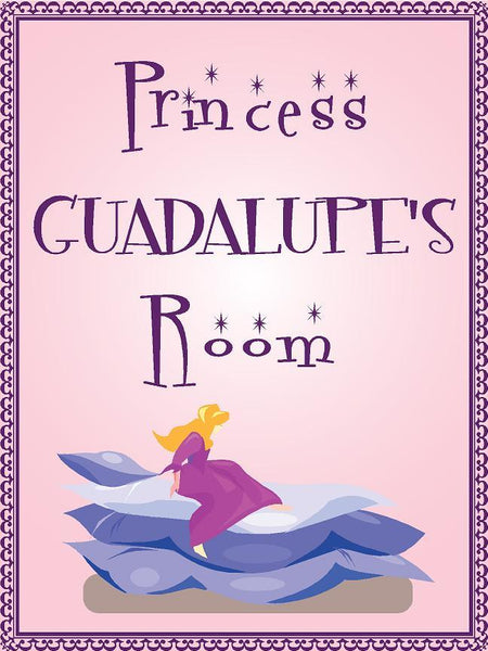 "Princess GUADALUPE room pink design 9""x12"" aluminum novelty girls room décor sign"