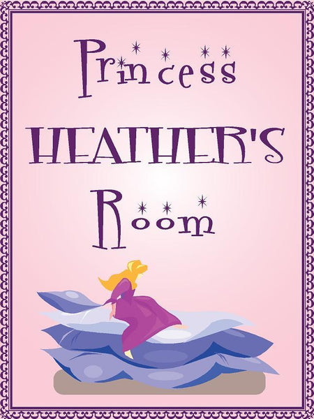 "Princess HEATHER room pink design 9""x12"" aluminum novelty girls room décor sign"
