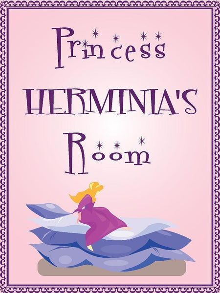 "Princess HERMINIA room pink design 9""x12"" aluminum novelty girls room décor sign"