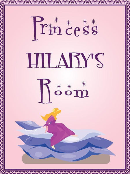 "Princess HILARY room pink design 9""x12"" aluminum novelty girls room décor sign"