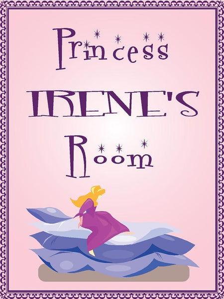 "Princess IRENE room pink design 9""x12"" aluminum novelty girls room décor sign"