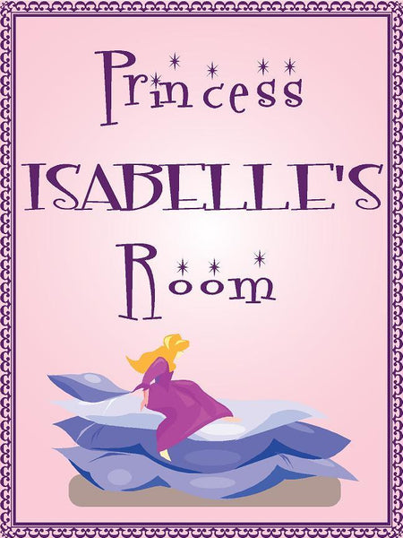 "Princess ISABELLE room pink design 9""x12"" aluminum novelty girls room décor sign"