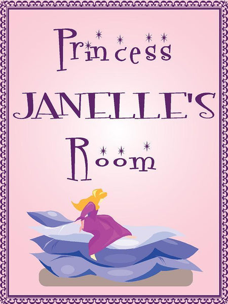 "Princess JANELLE room pink design 9""x12"" aluminum novelty girls room décor sign"
