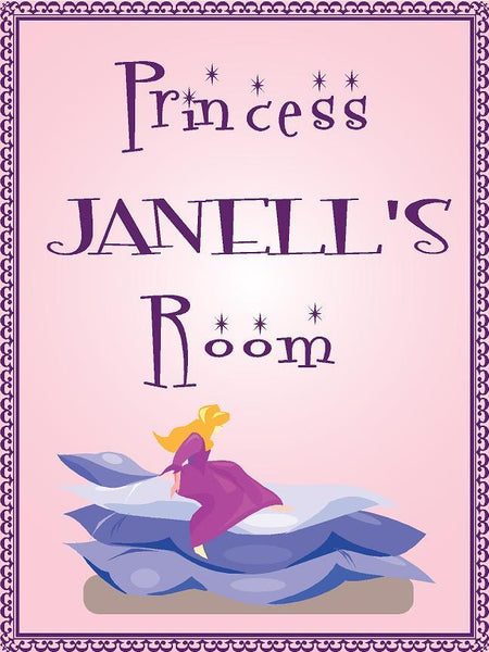 "Princess JANELL room pink design 9""x12"" aluminum novelty girls room décor sign"