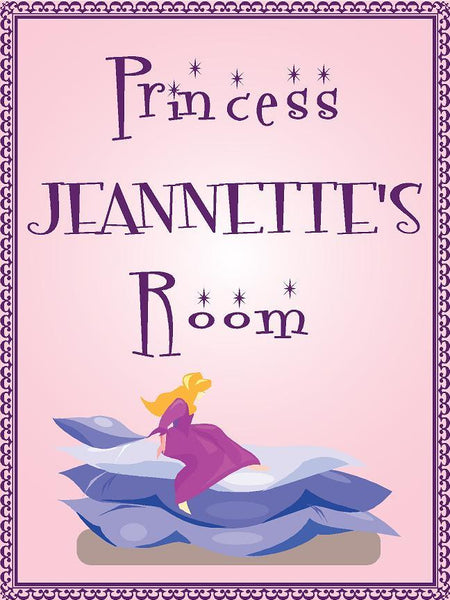 "Princess JEANNETTE room pink design 9""x12"" aluminum novelty girls room décor sign"