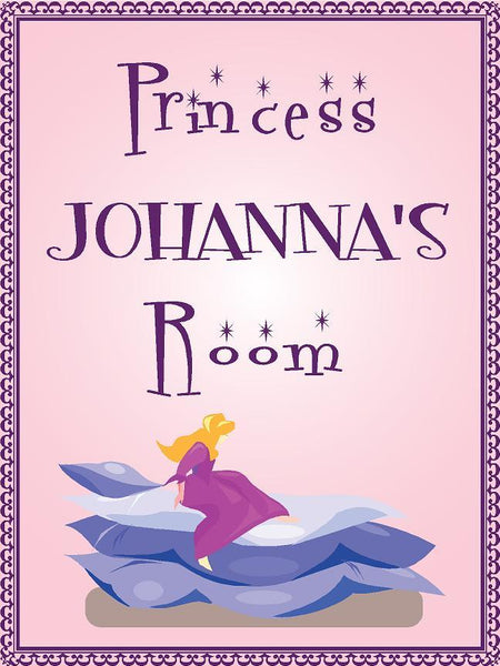"Princess JOHANNA room pink design 9""x12"" aluminum novelty girls room décor sign"