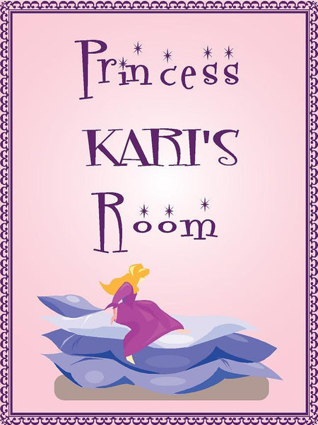 "Princess KARI room pink design 9""x12"" aluminum novelty girls room décor sign"