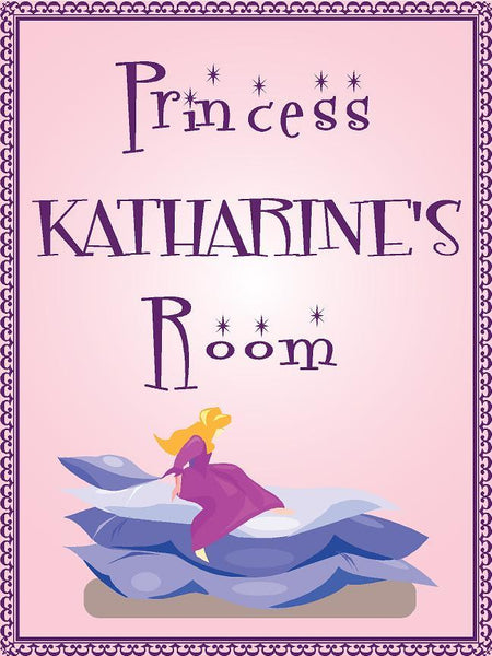 "Princess KATHARINE room pink design 9""x12"" aluminum novelty girls room décor sign"