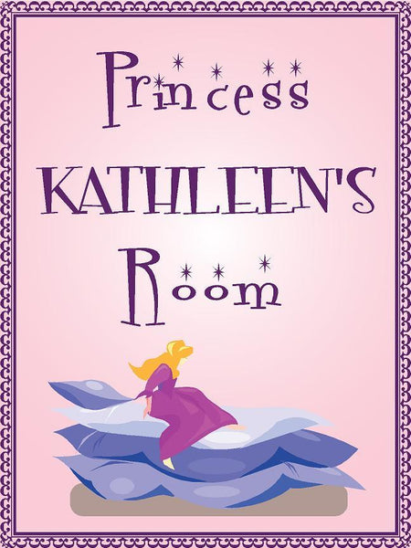 "Princess KATHLEEN room pink design 9""x12"" aluminum novelty girls room décor sign"