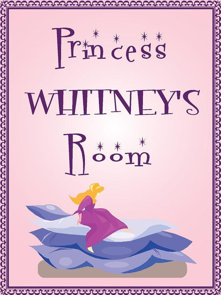 "Princess WHITNEY room pink design 9""x12"" aluminum novelty girls room décor sign"