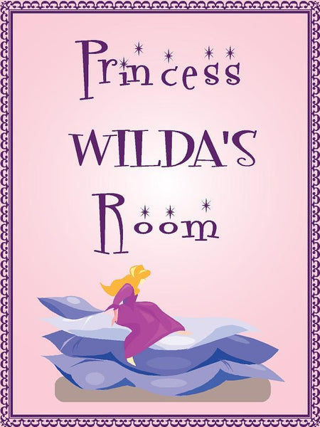 "Princess WILDA room pink design 9""x12"" aluminum novelty girls room décor sign"