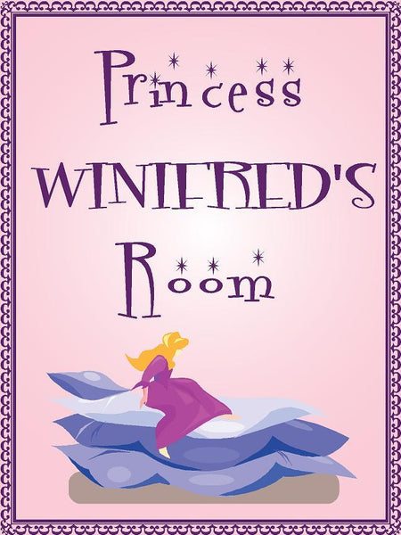 "Princess WINIFRED room pink design 9""x12"" aluminum novelty girls room décor sign"