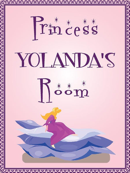 "Princess YOLANDA room pink design 9""x12"" aluminum novelty girls room décor sign"