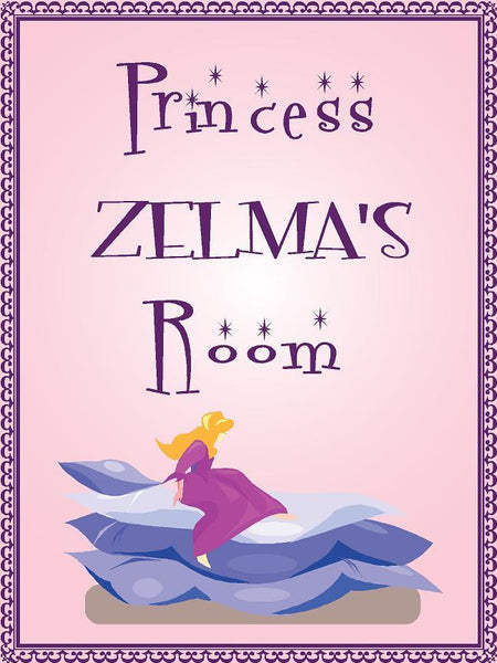 "Princess ZELMA room pink design 9""x12"" aluminum novelty girls room décor sign"