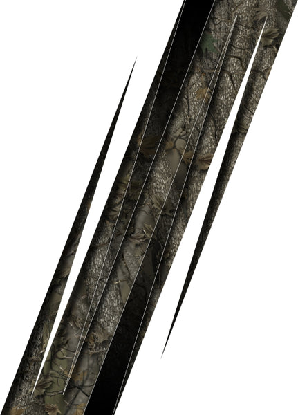 Truck bed or car side camo spikes bed band forrest high resolution vinyl graphic stripe decal kit universal fit.