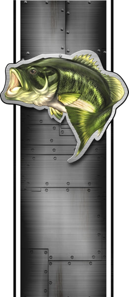Truck bed or car side largemouth bass bed band design # 2 high resolution vinyl graphic stripe decal kit universal fit.