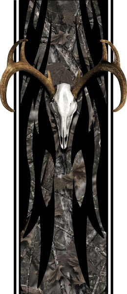 Truck bed or car side tribal buck skull bed band woodland ghost high resolution vinyl graphic stripe decal kit universal fit.