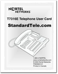 Nortel Networks T7316E Telephone User Card instruction guide