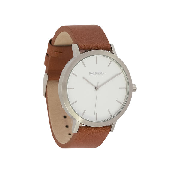 Oversized minimalist watch - White on Brown