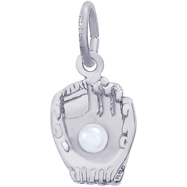 Baseball Glove With Pearl Accent Charm
