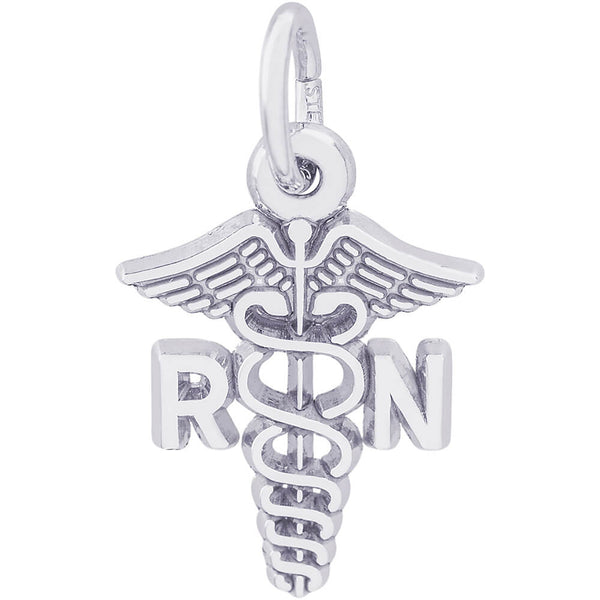 Small Registered Nurse Caduceus Charm