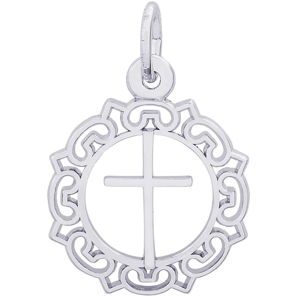 Cross With Ornate Border Charm
