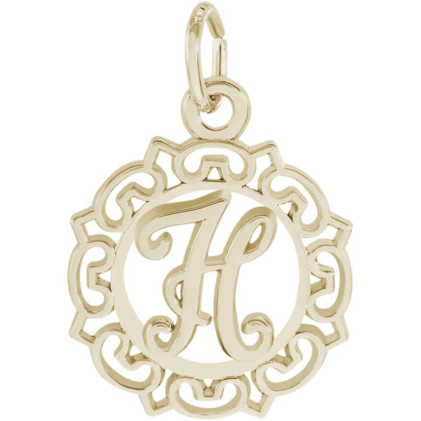 ORNATE SCRIPT INITIAL H - Rembrandt Charms