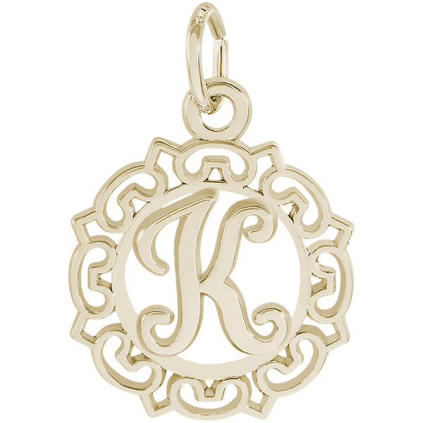 ORNATE SCRIPT INITIAL K - Rembrandt Charms