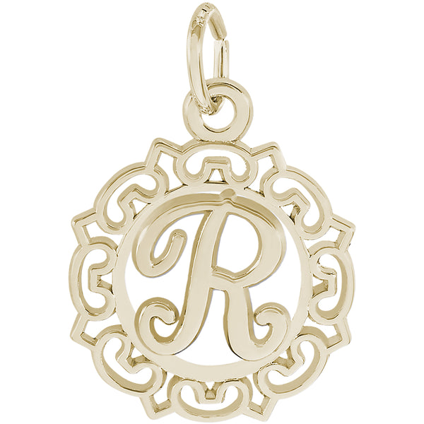 ORNATE SCRIPT INITIAL R - Rembrandt Charms