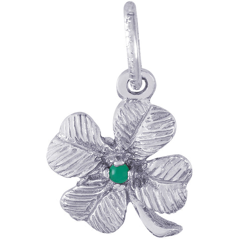 Four Leaf Clover With Bead Accent Charm