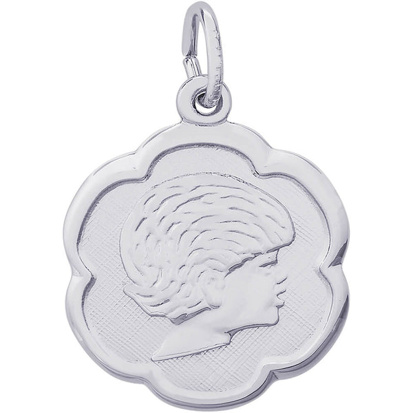 Girl's Head Scalloped Disc Charm