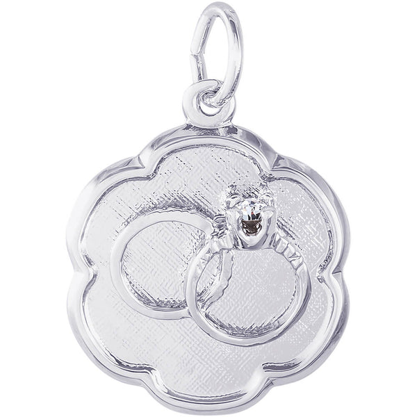 Wedding Rings Scalloped Disc Charm