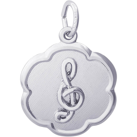 Treble Clef Scalloped Disc Charm