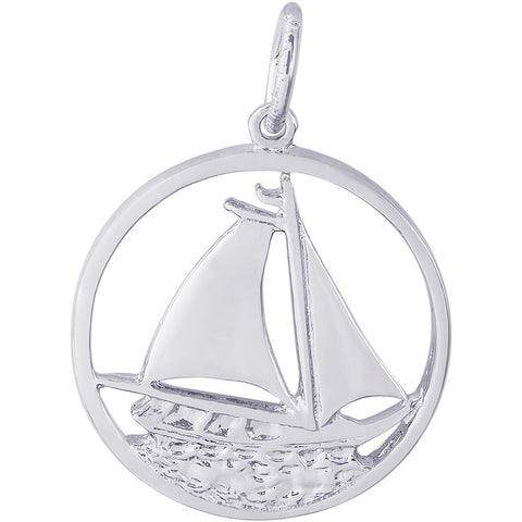 Sailboat In Circle Charm