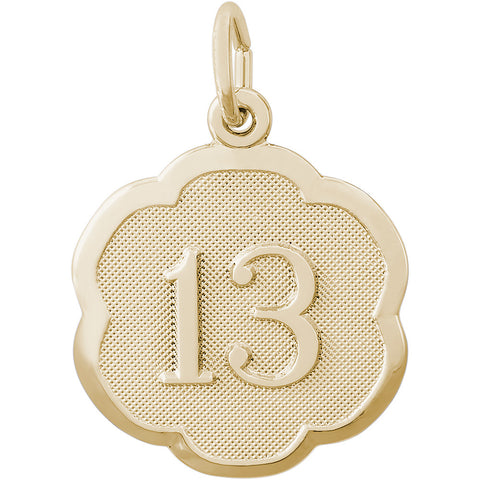 Number Thirteen Scalloped Disc Charm