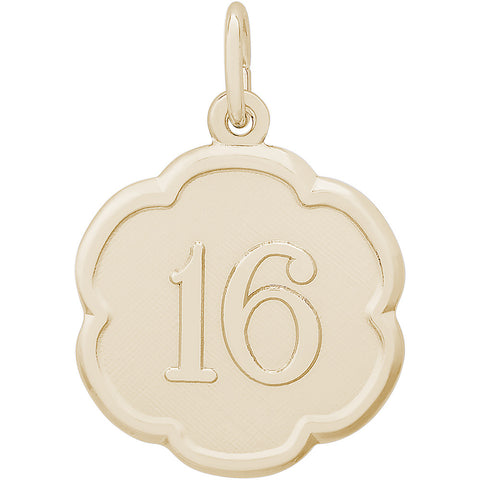 Number Sixteen Scalloped Disc Charm