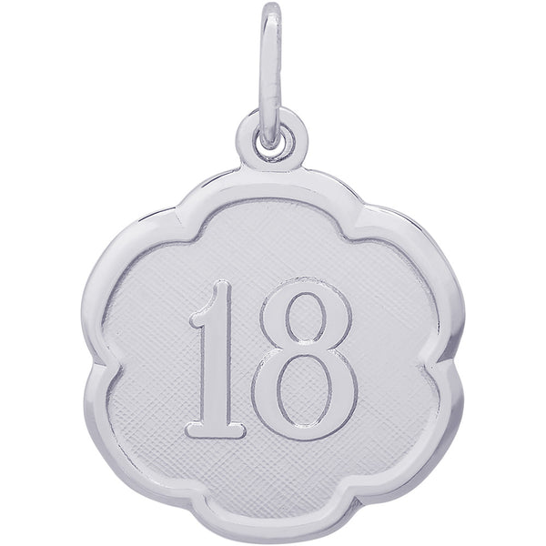 Number Eighteen Scalloped Disc Charm