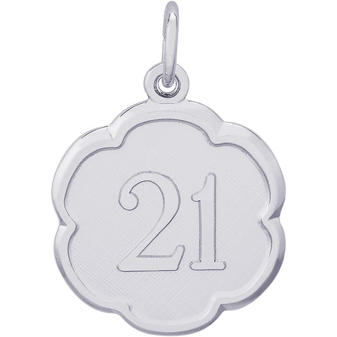 Number Twenty One Scalloped Disc Charm